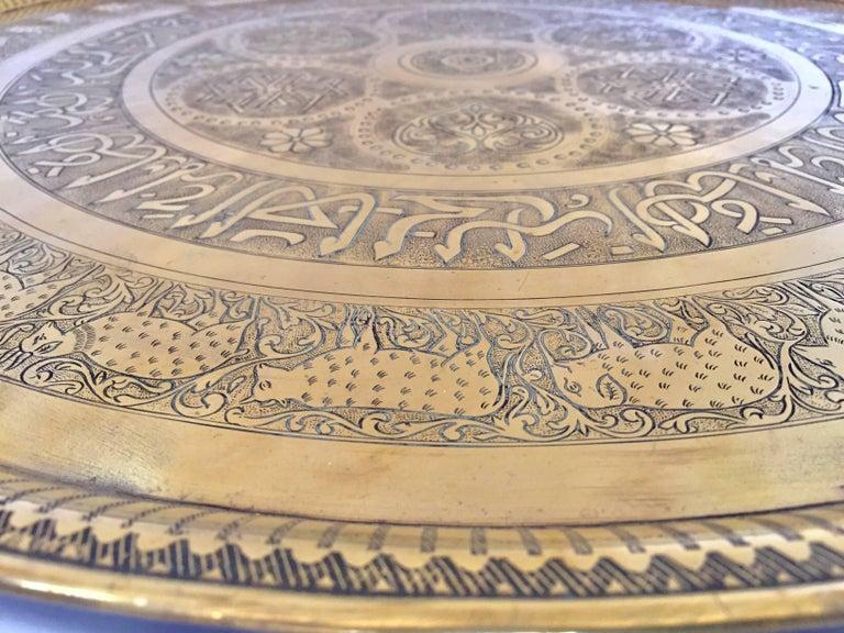Indo-Persian Handcrafted Decorative Hammered Brass Tray For Sale 2