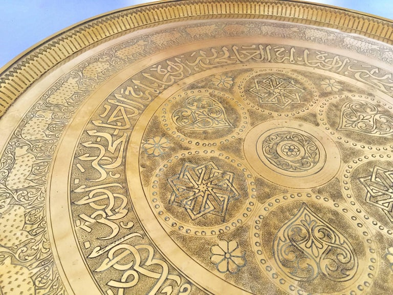 Indo-Persian Handcrafted Decorative Hammered Brass Tray For Sale 4