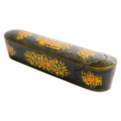 Indo Persian Lacquer Pen Box Hand Painted with Floral Design