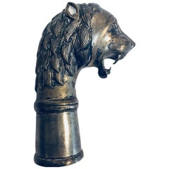Indo-Persian Lion's Head Silvered Beaker or Tobacco Box