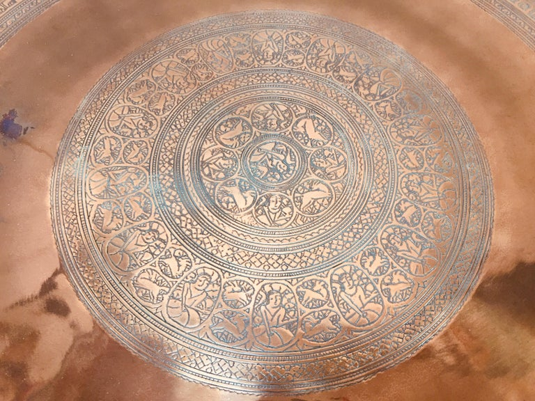 Indo Persian Tinned Copper Hanging Decorative Tray For Sale 5