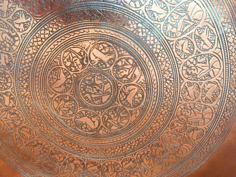 Indo Persian Tinned Copper Hanging Decorative Tray For Sale 7
