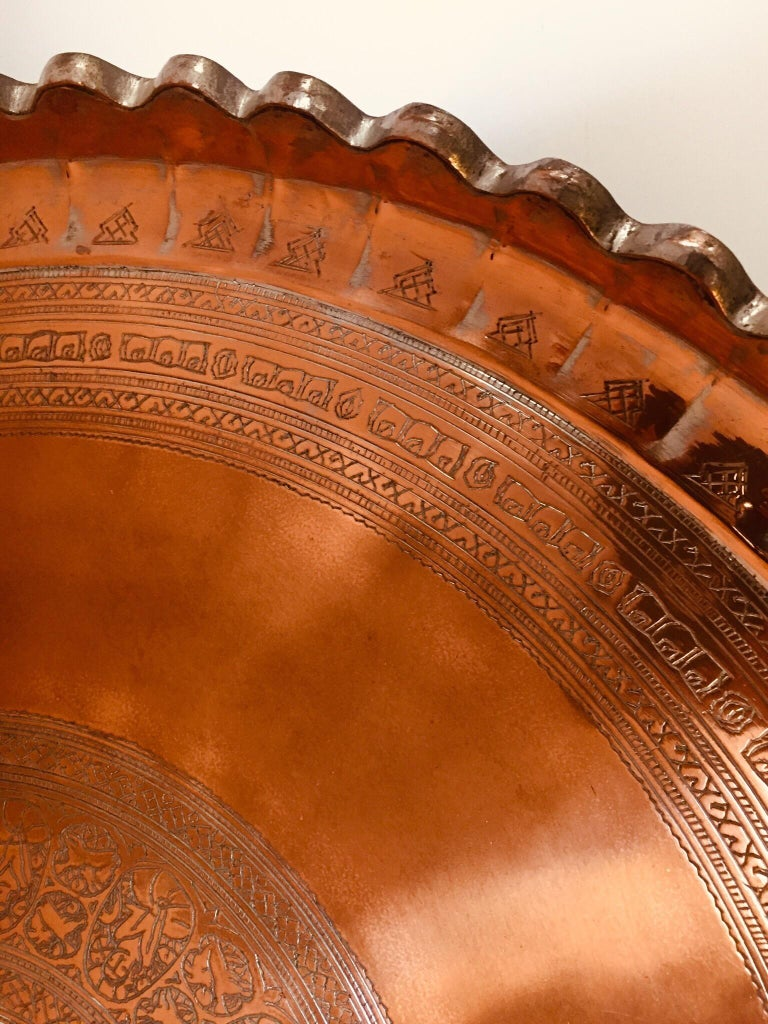 Indo Persian Tinned Copper Hanging Decorative Tray For Sale 10