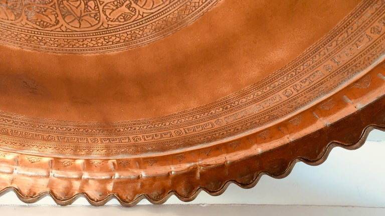 Moorish Indo Persian Tinned Copper Hanging Decorative Tray For Sale