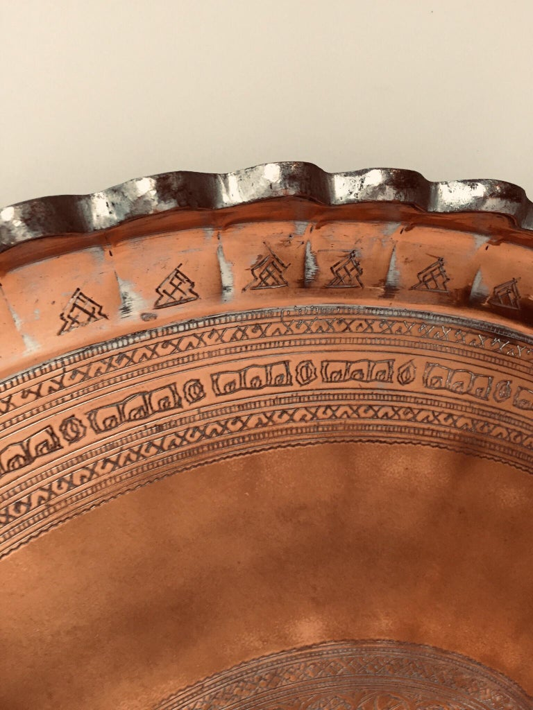 Hammered Indo Persian Tinned Copper Hanging Decorative Tray For Sale