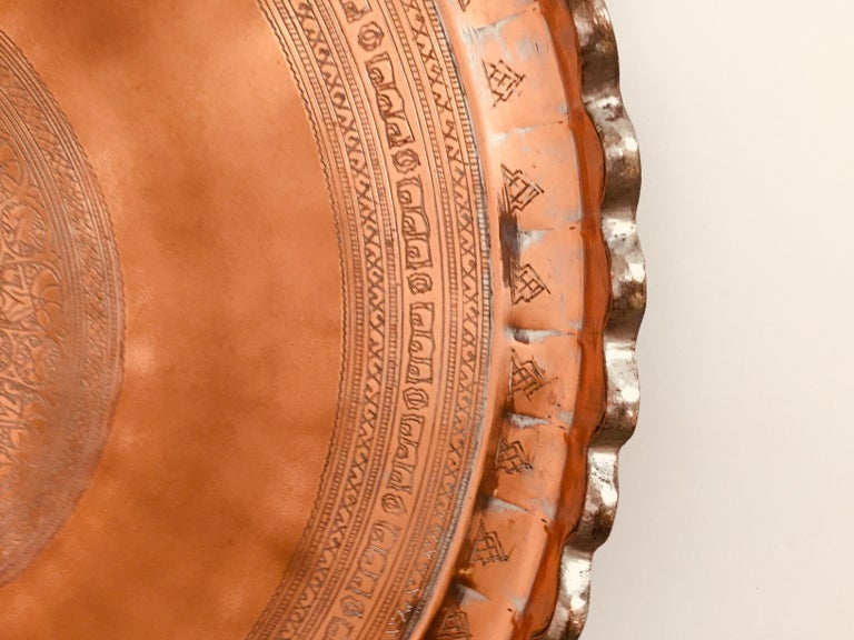 Indo Persian Tinned Copper Hanging Decorative Tray In Good Condition For Sale In North Hollywood, CA