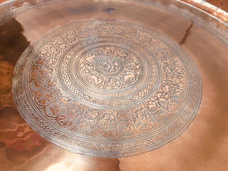 20th Century Indo Persian Tinned Copper Hanging Decorative Tray For Sale