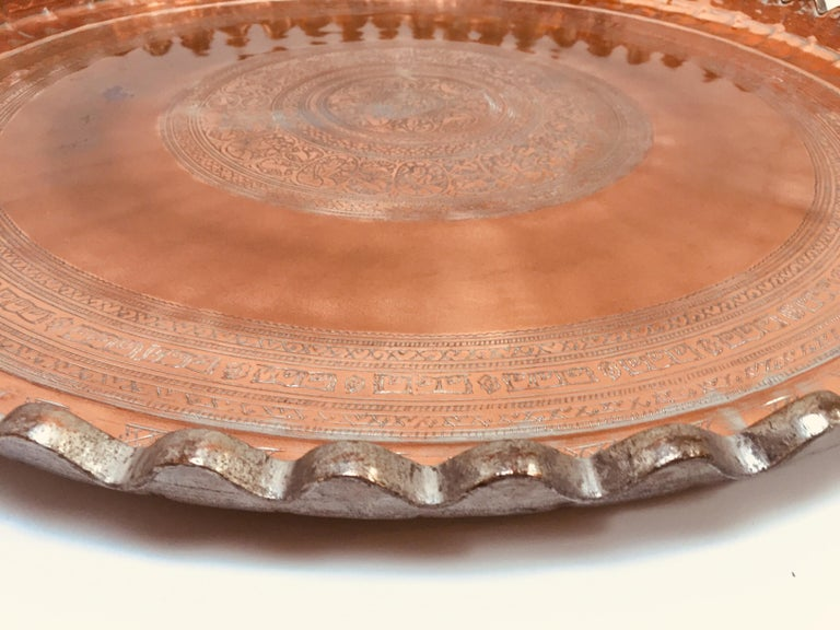 Indo Persian Tinned Copper Hanging Decorative Tray For Sale 1
