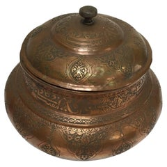 Indo-Persian Tinned Copper Jar With Lid