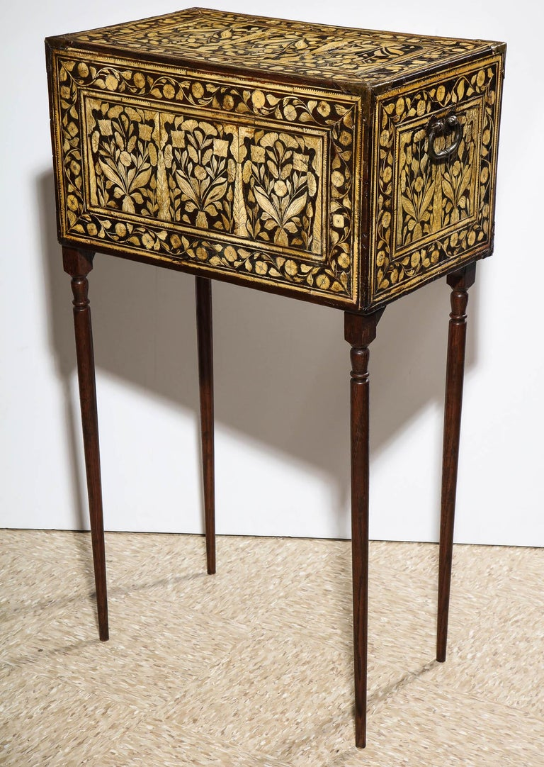 Indo-Portuguese Bone-Inlaid Fall Front Cabinet, Mughal India, 17th-18th Century For Sale 4