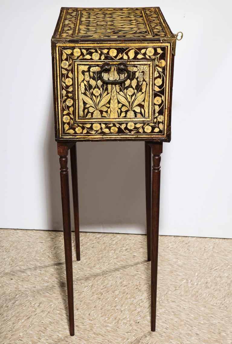 Indo-Portuguese Bone-Inlaid Fall Front Cabinet, Mughal India, 17th-18th Century For Sale 5