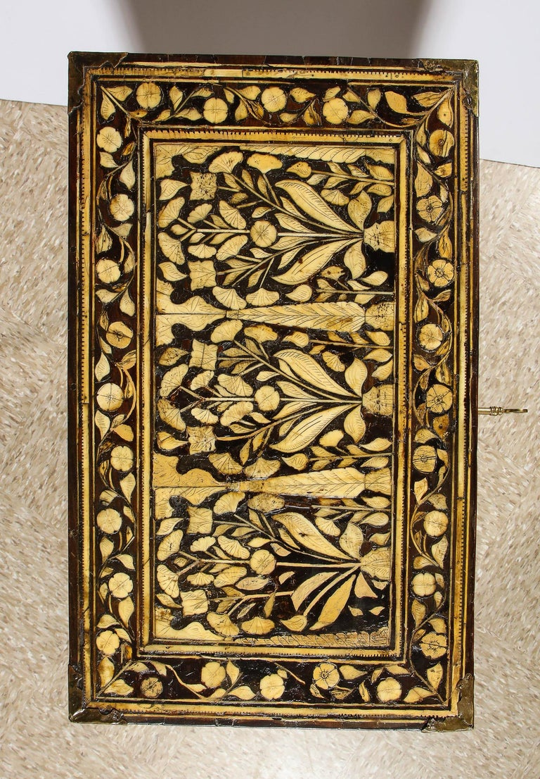 Indo-Portuguese Bone-Inlaid Fall Front Cabinet, Mughal India, 17th-18th Century For Sale 6