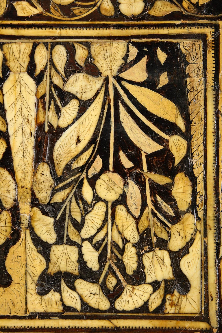 Indo-Portuguese Bone-Inlaid Fall Front Cabinet, Mughal India, 17th-18th Century For Sale 7