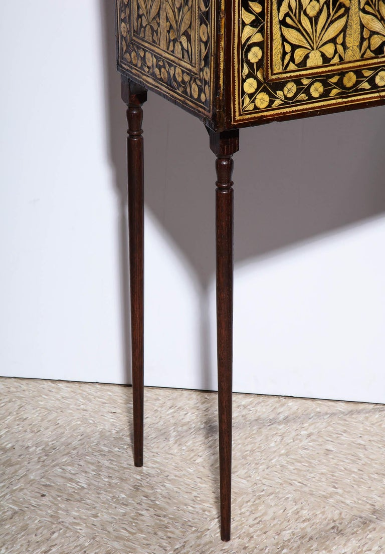 Indo-Portuguese Bone-Inlaid Fall Front Cabinet, Mughal India, 17th-18th Century For Sale 9