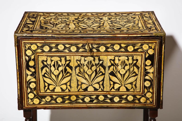 Anglo-Indian Indo-Portuguese Bone-Inlaid Fall Front Cabinet, Mughal India, 17th-18th Century For Sale