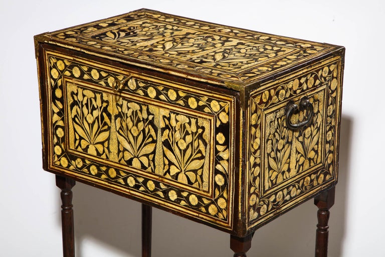 Indian Indo-Portuguese Bone-Inlaid Fall Front Cabinet, Mughal India, 17th-18th Century For Sale