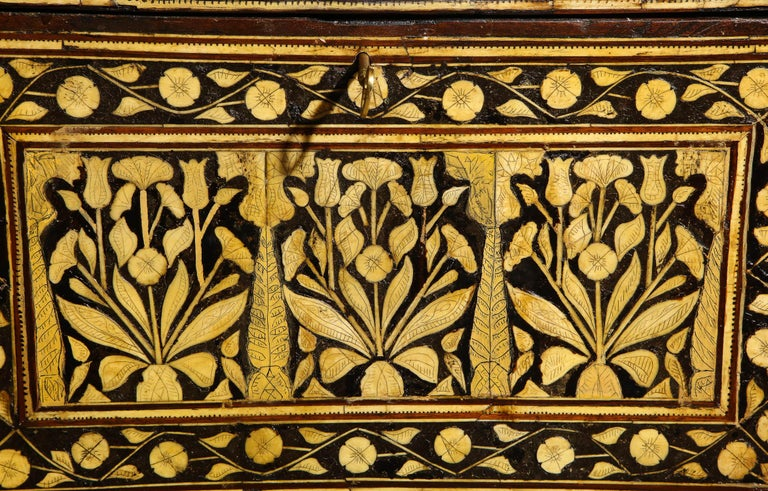 Indo-Portuguese Bone-Inlaid Fall Front Cabinet, Mughal India, 17th-18th Century In Good Condition For Sale In New York, NY