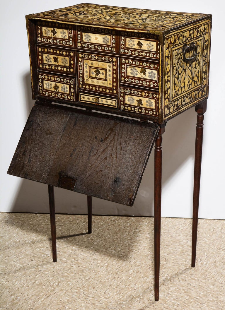 17th Century Indo-Portuguese Bone-Inlaid Fall Front Cabinet, Mughal India, 17th-18th Century For Sale