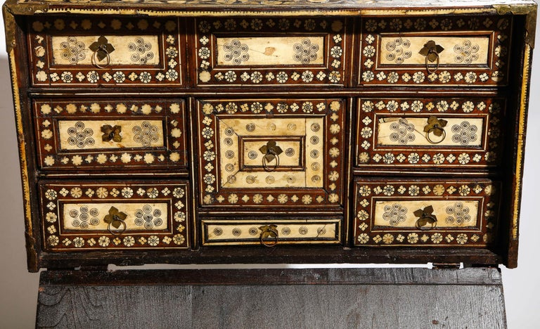 Indo-Portuguese Bone-Inlaid Fall Front Cabinet, Mughal India, 17th-18th Century For Sale 1