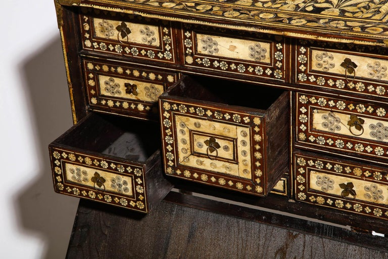 Indo-Portuguese Bone-Inlaid Fall Front Cabinet, Mughal India, 17th-18th Century For Sale 2