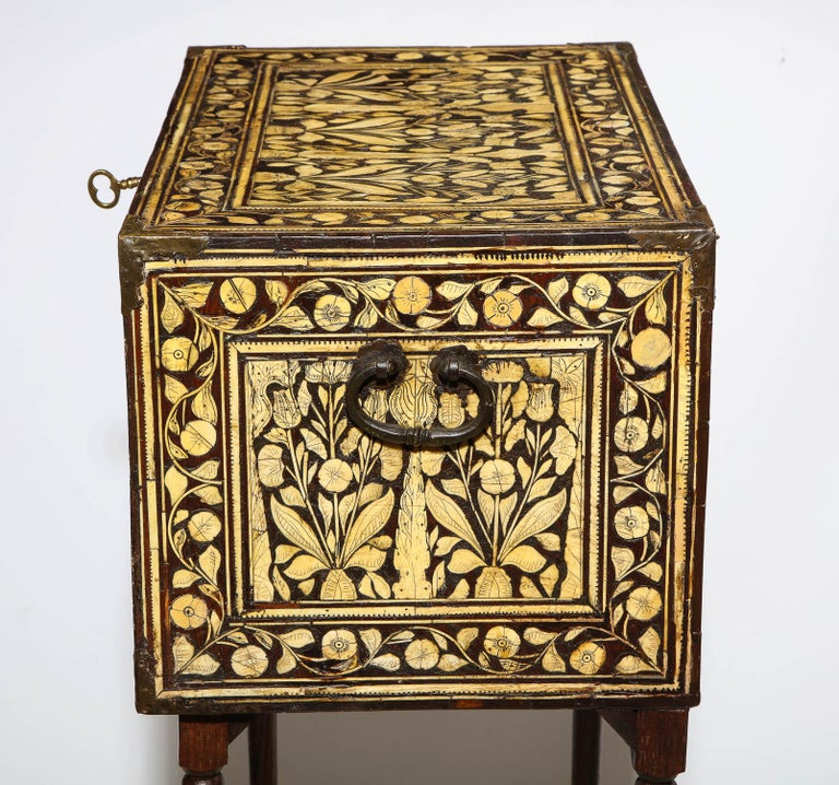 Indo-Portuguese Bone-Inlaid Fall Front Cabinet, Mughal India, 17th-18th Century For Sale 3