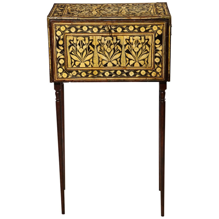 Indo-Portuguese Bone-Inlaid Fall Front Cabinet, Mughal India, 17th-18th Century For Sale