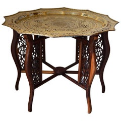 Indochinese Dragons Carved Table with Brassware Tray Top, 1890s