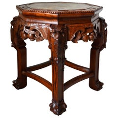 Indochinese Low Table in Carved Wood, Dragons Theme, 1890s