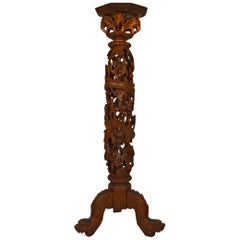 Indochinese Pedestal Table / Pot Stand in Carved Wood, Mythological Theme, 1890s