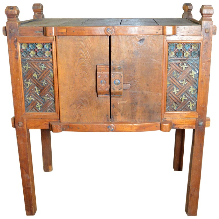 Indonesian Antique Wooden Dresser With Doors And Hand Painted Carved