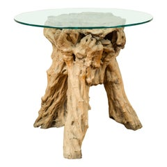 Indonesian Architectural Tree Root Driftwood Pedestal, Glass Top Not Included