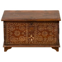 Indonesian Blanket Chest from Madura with Geometric Mother of Pearl Inlay
