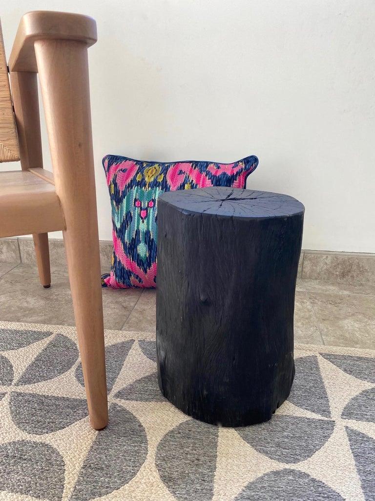 Indonesian Burnt and Blackened Teak Wood Side Table Stump For Sale 7