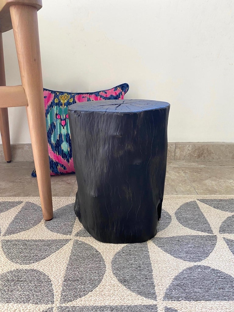 Indonesian Burnt and Blackened Teak Wood Side Table Stump For Sale 8