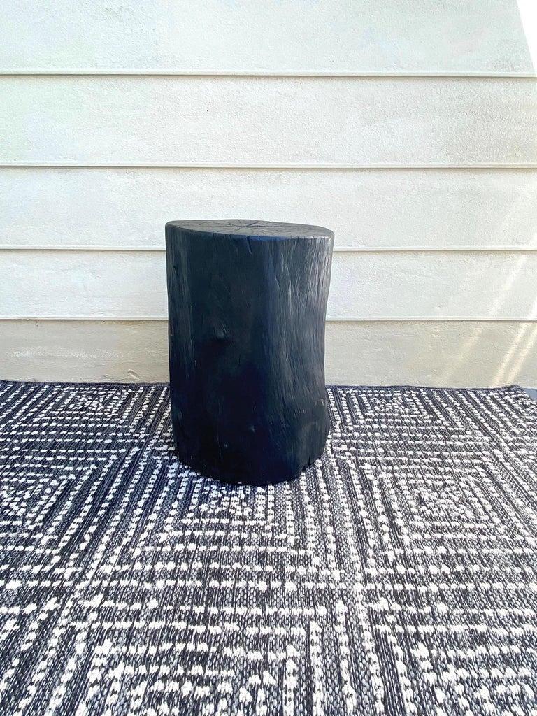 Organic Modern Indonesian Burnt and Blackened Teak Wood Side Table Stump For Sale