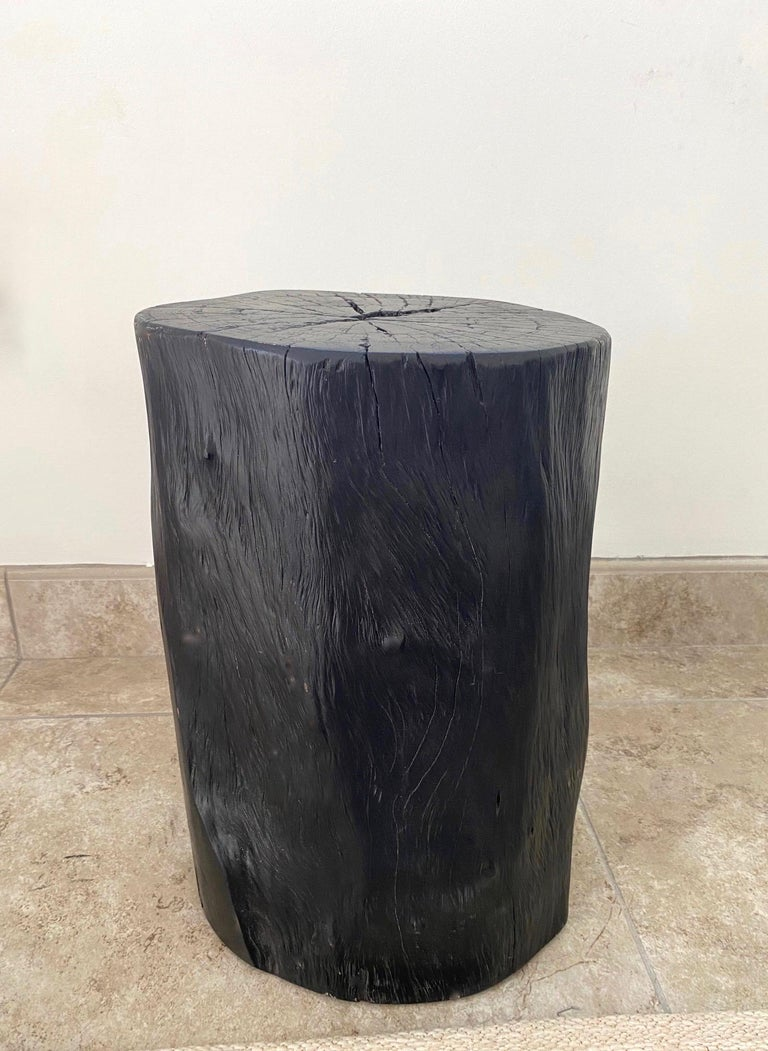 Hand-Carved Indonesian Burnt and Blackened Teak Wood Side Table Stump For Sale