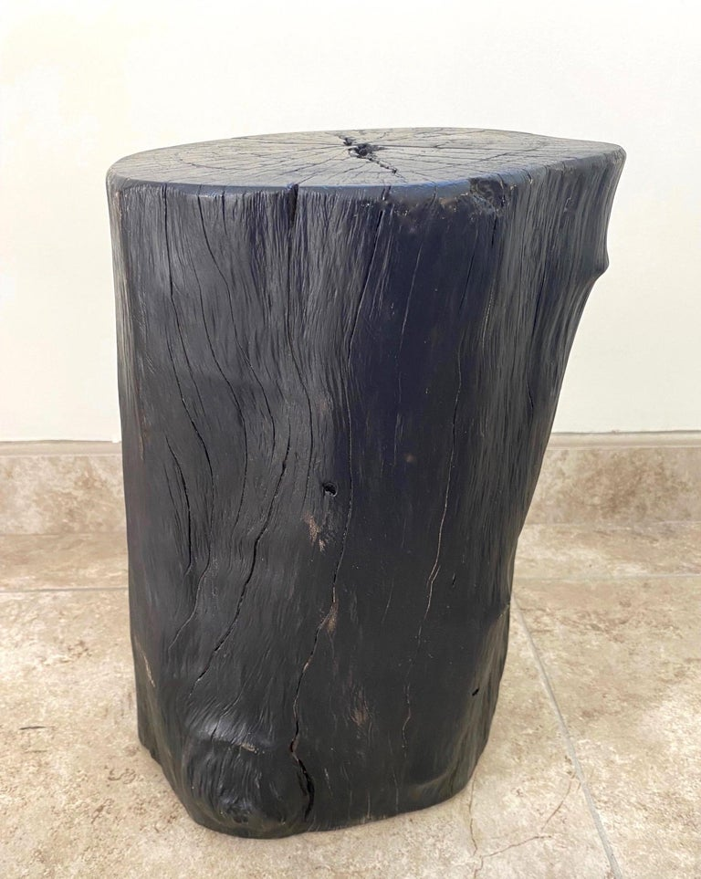 Indonesian Burnt and Blackened Teak Wood Side Table Stump In Good Condition For Sale In Fort Lauderdale, FL