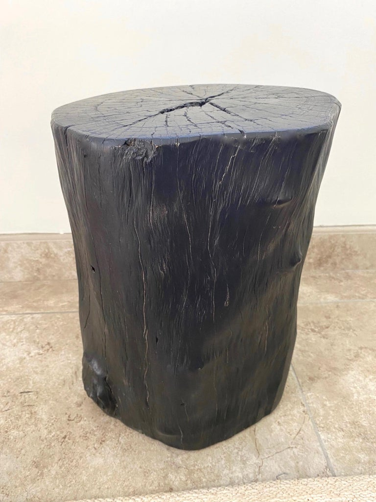 Contemporary Indonesian Burnt and Blackened Teak Wood Side Table Stump For Sale
