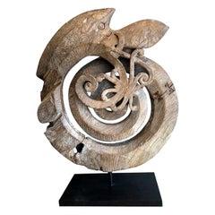 Indonesian Carved Teak Root Naga Snake Sculpture