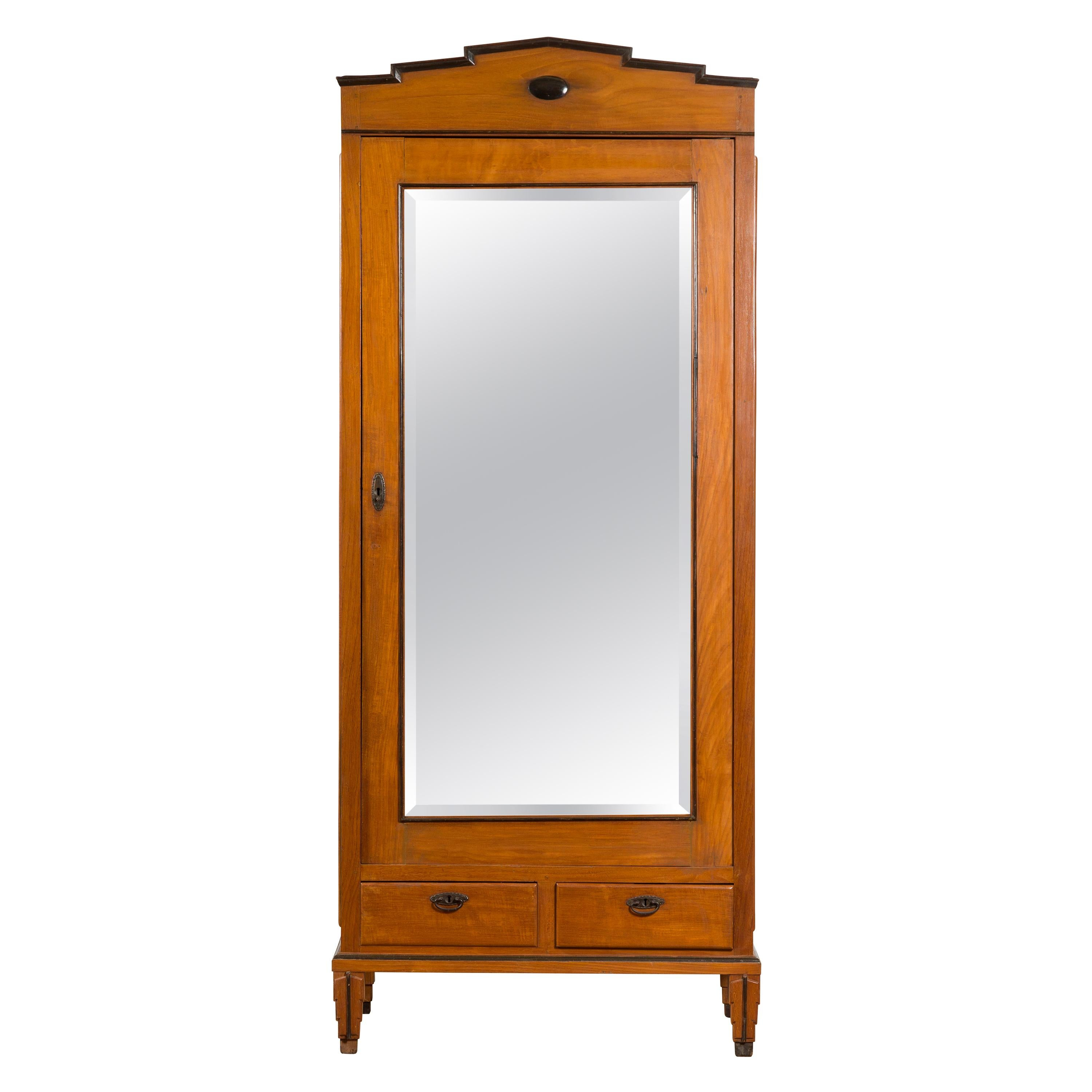 Indonesian Early 20th Century Cabinet with Mirrored Door and Carved Cornice