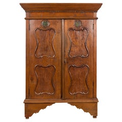 Indonesian Early 20th Century Carved Teak Wood Cabinet with Molded Cartouches