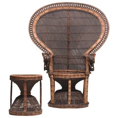 Indonesian Large Peacock Emmanuelle Chair with a Rare Stool, 1970s