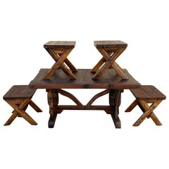 Indonesian Teak Dining Table Set with 4 Bench Seats