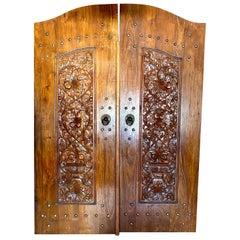 Indonesian Teak Wood Highly Carved Entry Door