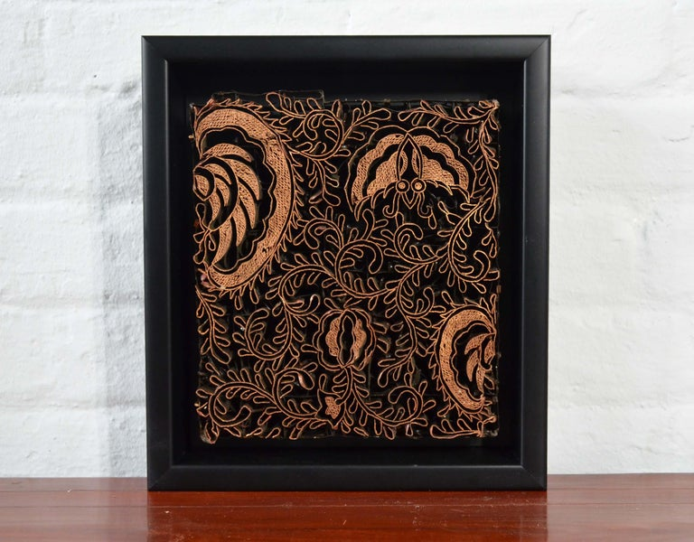 Indonesian Vintage Copper Batik Textile Printing Block Mounted in Shadow Box In Good Condition For Sale In Yonkers, NY