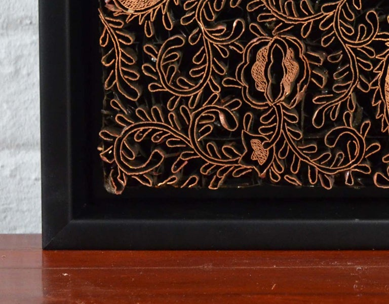 20th Century Indonesian Vintage Copper Batik Textile Printing Block Mounted in Shadow Box For Sale