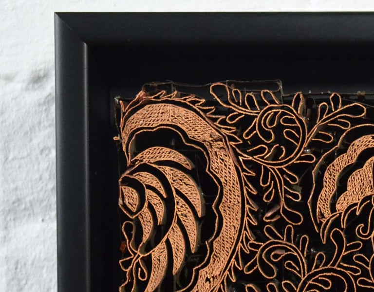 Indonesian Vintage Copper Batik Textile Printing Block Mounted in Shadow Box For Sale 1