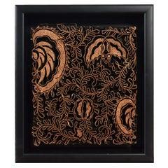 Indonesian Vintage Copper Batik Textile Printing Block Mounted in Shadow Box