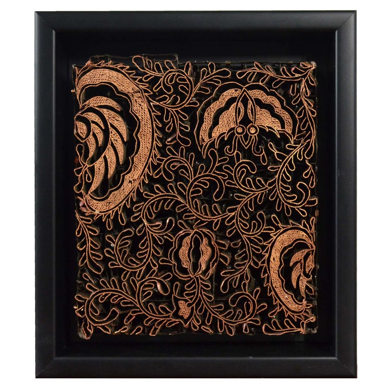 Indonesian Vintage Copper Batik Textile Printing Block Mounted in Shadow Box For Sale