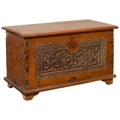 Indonesian Vintage Wooden Blanket Chest with Carved Foliage and Floral Motifs